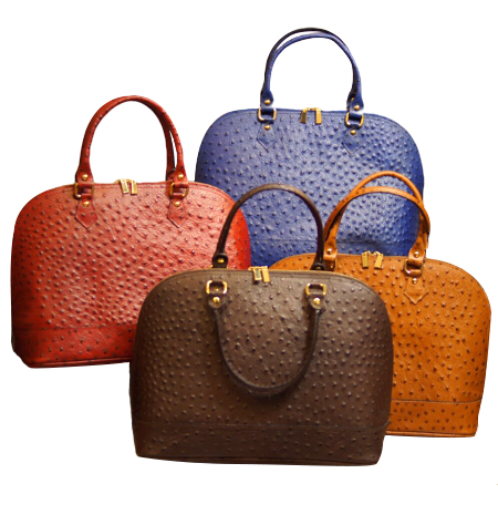 Ostrich Embossed Calf Handbag With Additional Shoulder Strap Made in Italy; Navy, Peanut, Coffee and Red, also available in Black and Taupe - Item #JZ-899