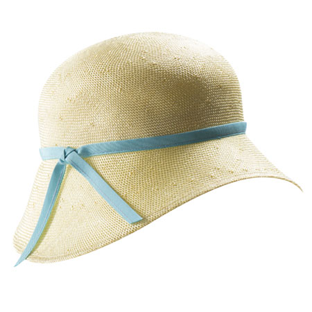 Cream straw hat with thin light blue ribbon