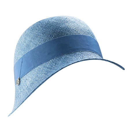 Light blue straw hat with blue ribbon