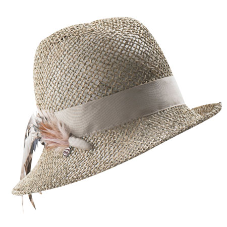 Beige straw hat with ribbon and decorative feather