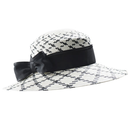 Black and white checked straw hat with black ribbon