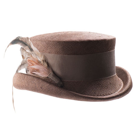 Rose brown straw hat with ribbon and decorative feathers