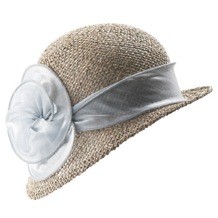 Beige straw hat with pale ribbon in bloom design
