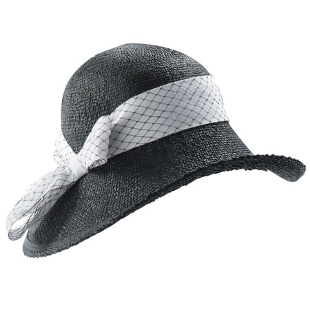 Black straw hat with white ribbon