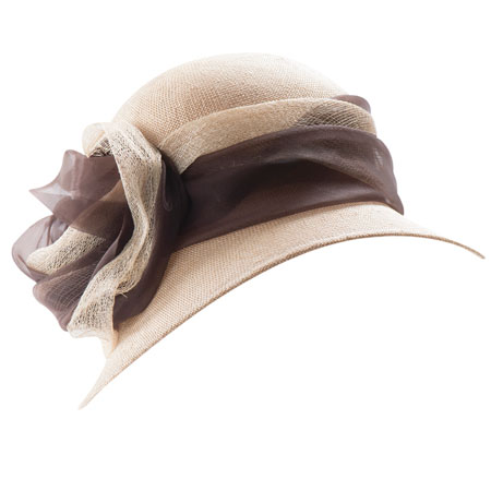 Rose beige straw hat with brown and cream ribbon