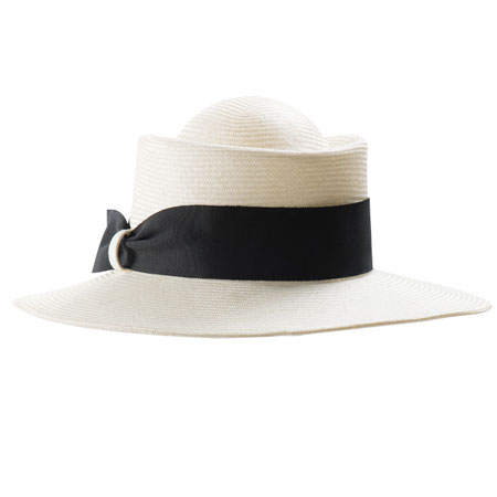 White straw hat with black ribbon