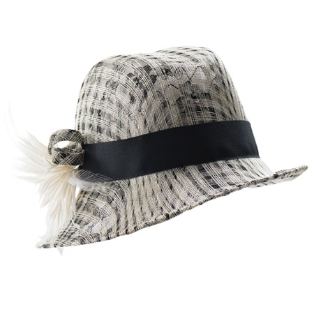 Black and white straw hat with black ribbon and white decorative feathers