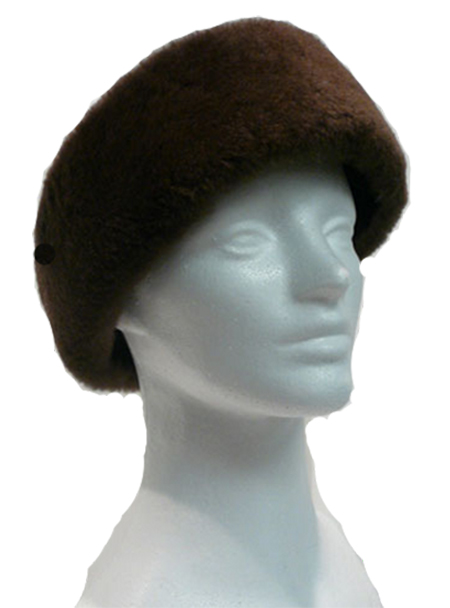 Brown dyed Sheared beaver headband - Item # AC0096