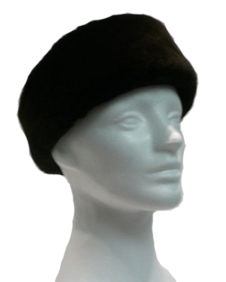 Black dyed sheared beaver headband - Item # AC0098