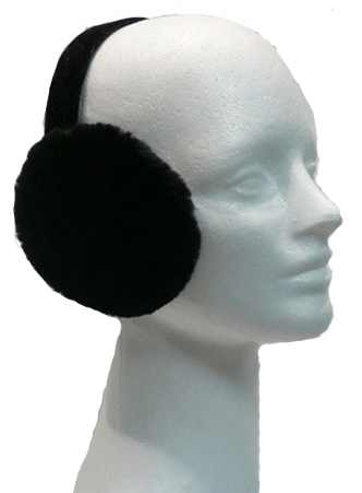 Black sheared beaver earmuffs - Item # AC0102