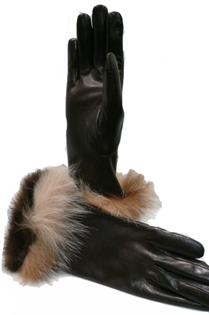 Lamb leather gloves with mink and fox - Item # AC0135