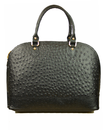 Ostrich Embossed Calf Handbag With Additional Shoulder Strap Made in Italy; Black, also available in Taupe, Red, Peanut, Coffee & Navy - Item #JZ-899
