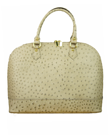 Ostrich Embossed Calf Handbag With Additional Shoulder Strap Made in Italy; Taupe, also available in Black, Red, Peanut, Coffee and Navy - Item #JZ-899
