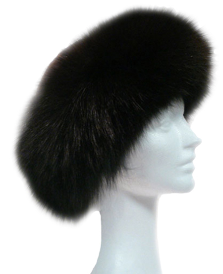 Dark brown dyed fox and sheared beaver crown - Item # AC0067