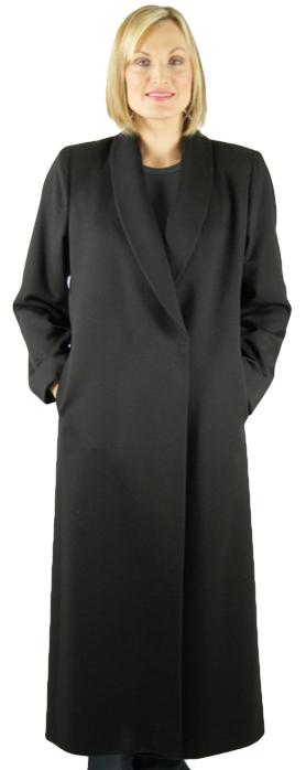 Black pure cashmere full length coat with classic shawl collar magnet closures by Fleurette. Item # DA-1976