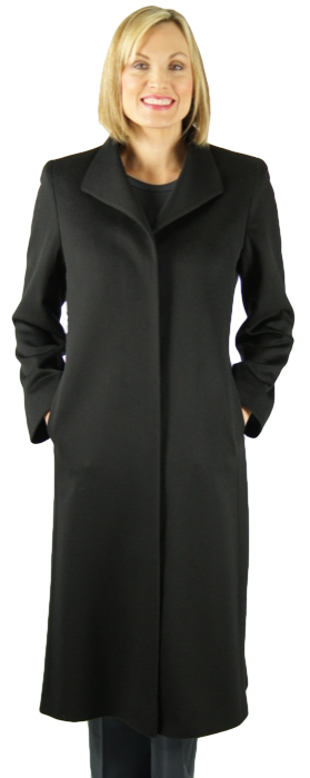 "Black super fine Loro Piana wool 46"" coat by Dominic Bellissimo. Item # DA-2010"