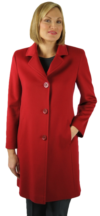 "Soft rose red super fine Loro Piana wool 37"" coat by Dominic Bellissimo. Item # DB-569"