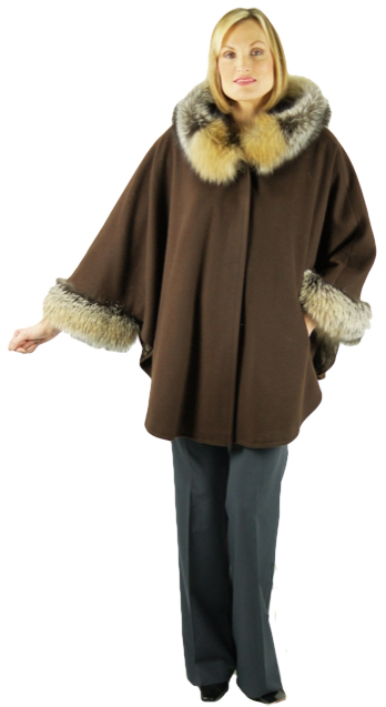 Brown pure cashmere by Loro Piana cape with hood. Fully lined. Trimmed with rare Cross Fox hood ruff and cuffs. Designed and hand crafted by Kriegsman's. Item # DF-295