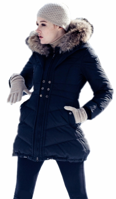 "32"" Goose Down Jacket With Knitted Cuffs. The Hood Is Trimmed With Finn Raccoon. Black Only. - Item # FF0003"