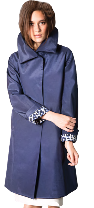 """38"""" Raincoat with Printed Lining. Available in Black and Red. Item # FL-46B"""
