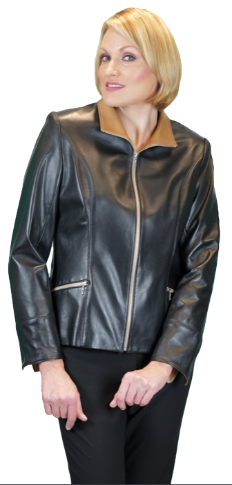 Leather - Black Lamb Leather Jacket With Cognac Leather Trim - Item # LE0004