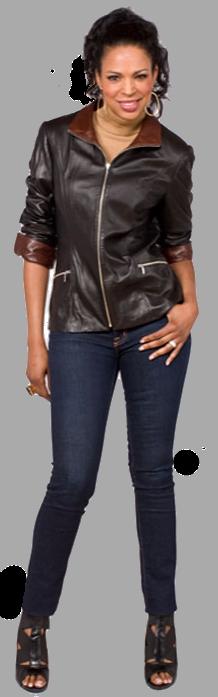 Black leather zip jacket with vintage nappa trim - Item # LE0024