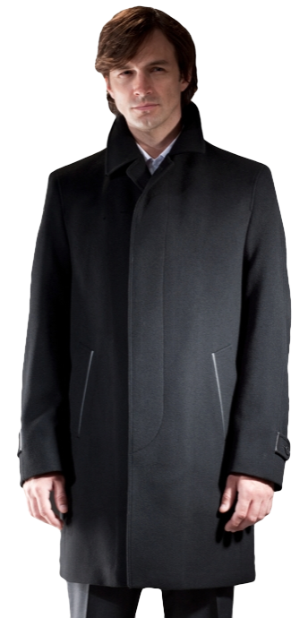 "37"" Wool/Cashmere Blend Car Coat With Leather Detailing - also available in 100% Cashmere - Item # ME0002"