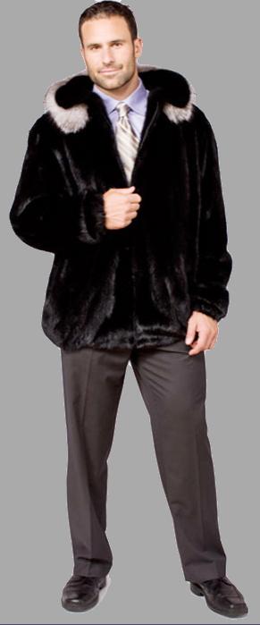 Ranch mink zip jacket with indigo fox on detachable hood - Item # ME0048