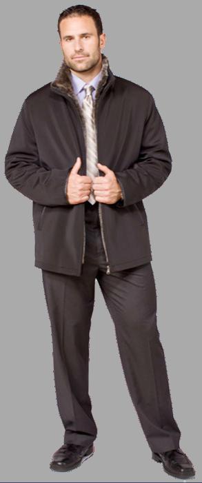 Black technofiber zip jacket with detachable shearling liner - Item # ME0050