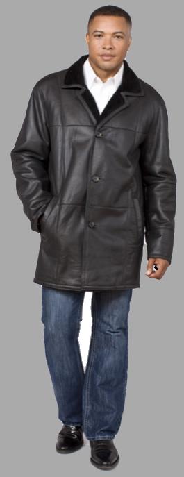 Black shearling car coat - Item# ME0051