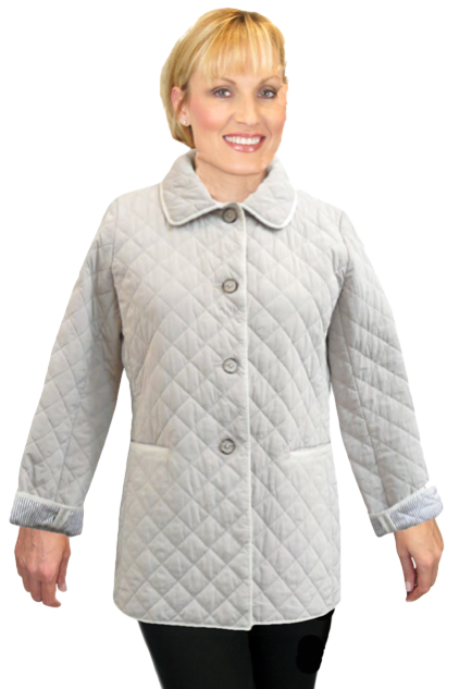 """Lightweight Quilted 27"""" Jacket. Available in Beige and Black. - Item # MF-29"""
