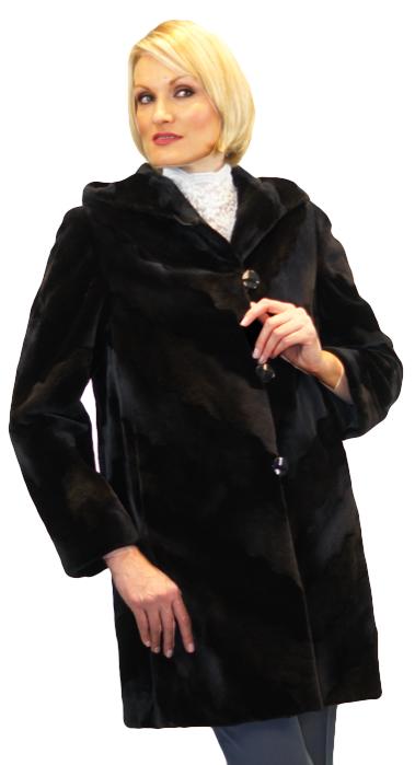 Sheared Dyed Black Mink Chevron Cut Stroller With Doule Fur Hood - Item # MI0009