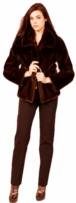 Mahogany mink jacket with drawstring waist - Item # MI0064