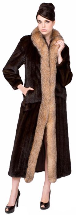 Full length mahogany mink coat with crystal dyed fox tuxedo - Item # MI0070