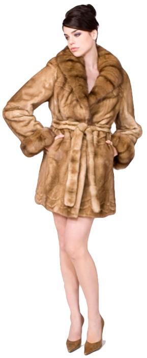 Sahara dyed female mink Skin-On-Skin stroller w/ natural sable cross cut collar/turn back cuff - Item # MI0073