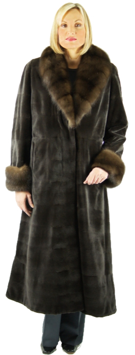 Chocolate dyed sheared mink full length coat. Horizontal cut in a princess style. Trimmed with dyed Russian sable collar & cuffs. Item # NA-326