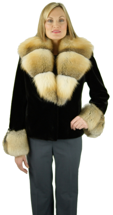 "Dyed black sheared mink 24"" jacket with natural Golden Island fox collar and cuffs. Item # ND-986"