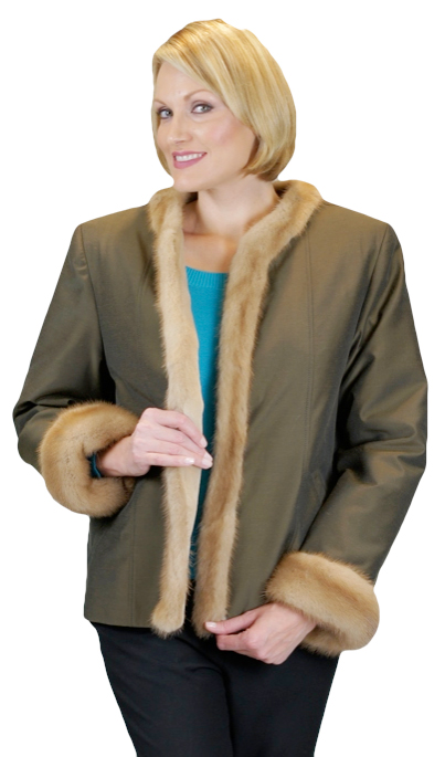 Sheared Mink Lined Poplin Jacket With Mink Facings & Cuffs Item # RS0009