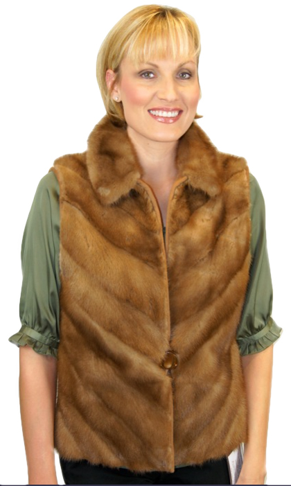 Pastel Mink Vest made from a stole with cashmere back Item # RS0048