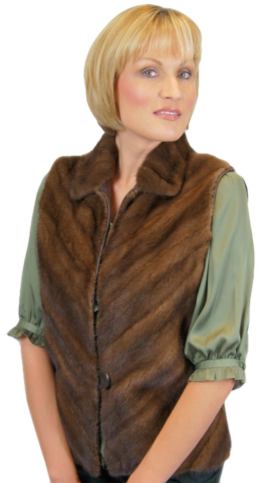DemiBuff Mink Vest with leather back made from the hem of an old fur coat - Item # RS0048b