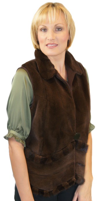 Sheared Mahogany Mink Vest made from Sleeves with Mink Detailing - Item # RS0048c