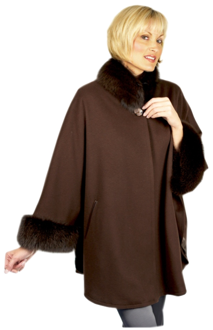 Loro Piana Cashmere Trimmed with Dyed Brown Fox or any other type of fur - Item # RS0097br