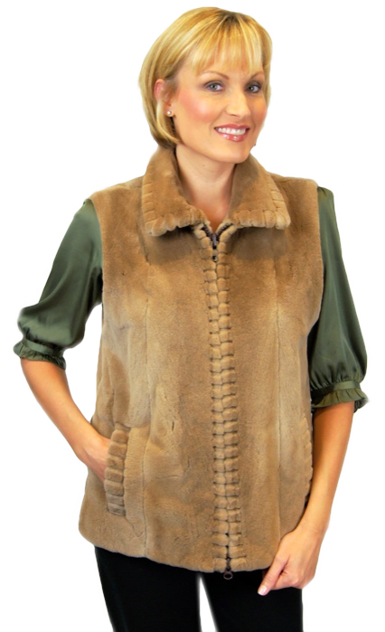Sheared & Grooved Pastel Mink Vest made from a jacket - Item # RS0100