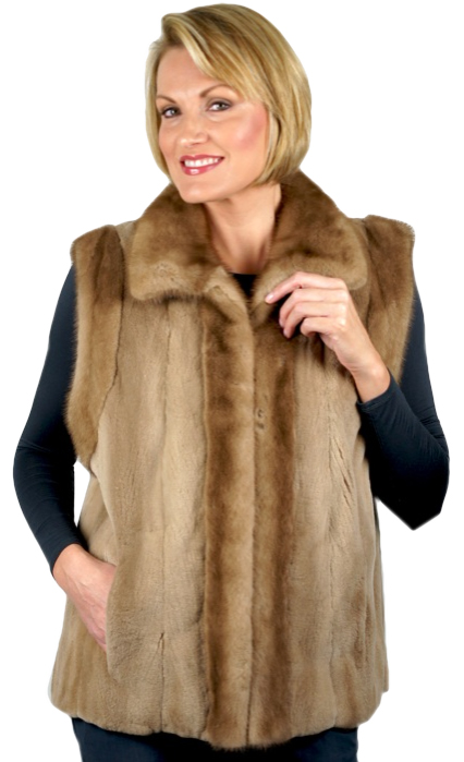 Restyled Fur - Sheared Pastel Mink Vest with Mink Collar & Shoulders made from a jacket - Item # RS0102