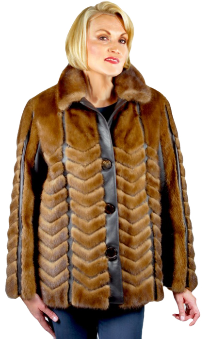 Natural Mink Jacket worked with leather - Item # RS0819