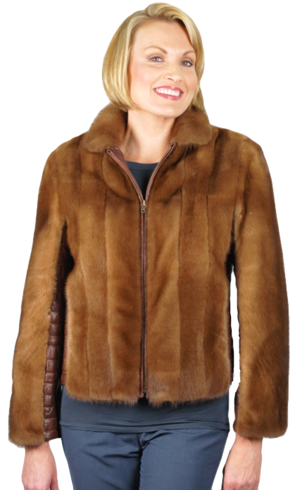 Demi Buff Hip Length Mink & Leather Jacket made from a jacket - Item # RS0843