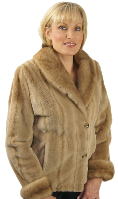 Sheared Mink Jacket with Mink Collar & Cuffs made from a jacket - Item # RS1649