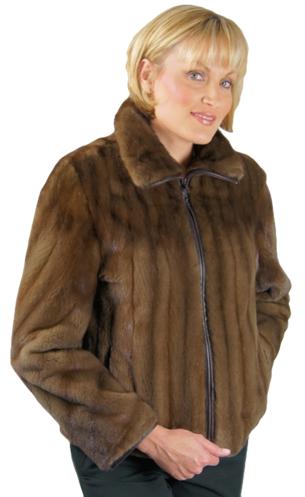 Sheared Mahogany Mink Zipper Jacket made from a coat Item # RS9404