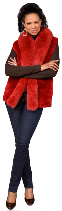 Red lipstick sheared beaver vest with Dyed-To-Match Fox tux - Item # SB0079