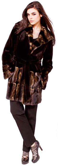 Brown sheared mink stroller with frosted mink hood/hem/sleeve trim - Item # SM0096